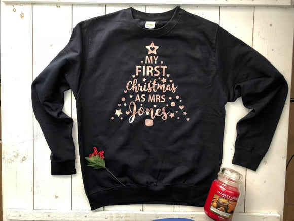 My First Christmas As Mrs Personalised Jumper Sweater Sweatshirt