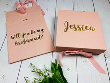 Load image into Gallery viewer, Rose Gold Bridesmaid Gift Box Will You Be My Bridesmaid Maid Of Honour Gift White Pink Gold Silver Personalised Bridesmaid Proposal Box Bridesmaid Proposal Box • White Gift Box •Personalised Gift Box •Bridal Party Gift • Wedding Gift •Mother Of The Bride Gift • Thank you Gift