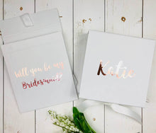 Load image into Gallery viewer, Personalised Bridesmaid Gift Box Will You Be My Bridesmaid Proposal Hidden Message Inside Rose Gold Bridesmaid Gift Box Maid Of Honour Gift Bridesmaid Proposal Box • White Gift Box •Personalised Gift Box •Bridal Party Gift • Wedding Gift •Mother Of The Bride Gift • Thank you Gift