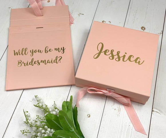 Bridesmaid Proposal Box Personalised Bridesmaid Gift Box Will You Be My Bridesmaid Hidden Message Inside Rose Gold Maid Of Honour Gift Groom
