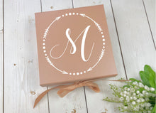 Load image into Gallery viewer, Monogram Gift Box • Rose Gold Gift Box • Bridesmaid Box • Wedding Monogram • Rose Gold Wedding • Custom Gift Box • Will You Be My