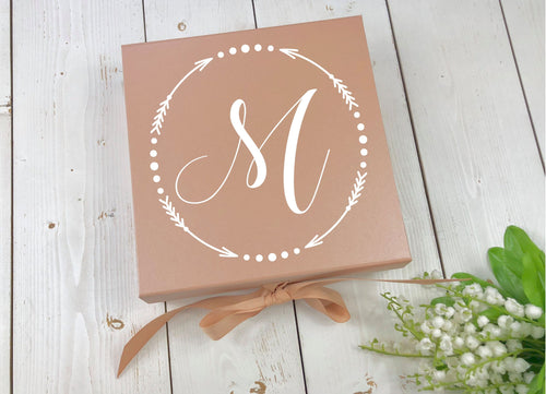 Monogram Gift Box • Rose Gold Gift Box • Bridesmaid Box • Wedding Monogram • Rose Gold Wedding • Custom Gift Box • Will You Be My