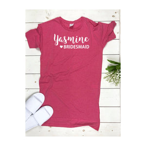 Personalised Bridesmaid Night Dress • Bridesmaid Gift • Bridesmaid Nightie Oversized Shirt Bridal Nightwear Hen Party Sleepshirt Nightshirt