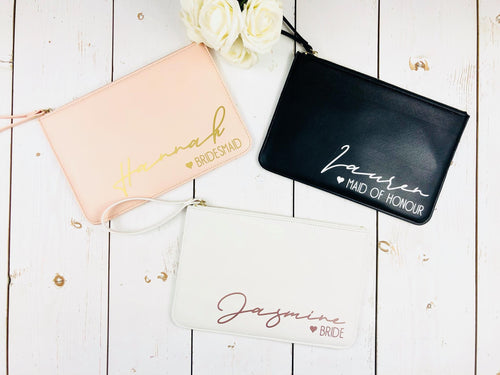 Personalised Bridesmaid Bag • Maid of Honour Gift • Bridal Pouch • Blush Pink Clutch Bag • Hen Party Gift • Large Faux Leather • Bri