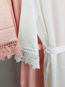 Blush Pink Robe • Bridesmaid Robes • Rose Gold Robes • Bridal Robes • Lace Satin Dressing Gown • Floral Wedding Robe • Bride Robe
