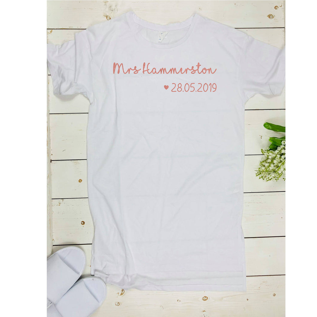 Personalised Mrs Night Shirt • Bride Nightie • Honeymoon Gift • New Mrs X • Future Mrs Shirt •Wife Bride Shirt Sleepshirt Nightshirt Nightie