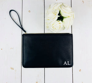 Personalised Monogram Clutch Bag • Large Saffiano PU Faux Leather Pouch • Bridesmaid Maid of Honour Mother of Bride Friend Bridal Proposal