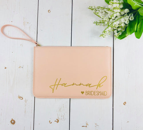 Blush Pink Bridesmaid Clutch Bag • Bridesmaid Bag • Bridesmaid Gift • Personalised Maid of Honour Gift • Hen Party Gift • Large Faux Leather