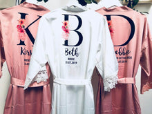 Load image into Gallery viewer, Bride Robe • Personalised Wedding Lace Robe • Bride Dressing Gown • Bridesmaid Robe • Bride Gift • Bridesmaid Gift • Satin Lace Wedding Robe
