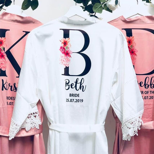 Bride Robe • Personalised Wedding Lace Robe • Bride Dressing Gown • Bridesmaid Robe • Bride Gift • Bridesmaid Gift • Satin Lace Wedding Robe