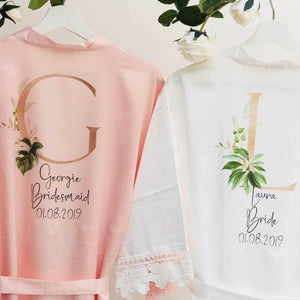 Blush Pink Bridesmaid Robes with Rose Gold accents for your Bridal Party Getting Ready