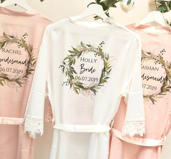 Bridesmaid Robes Set of 8 • Satin Lace Wedding Robes • Bridal Robes • Wedding Dressing Gown •Floral Robe • Bride Dressing Gown•Wedding Robes
