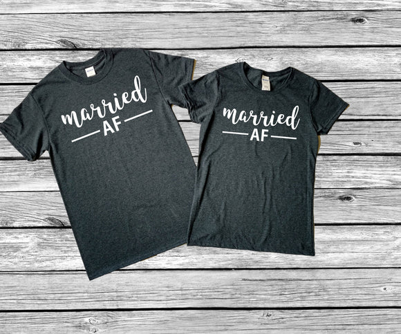 Married AF Shirts • Couples T Shirt • Couples Shirt • Honeymoon Shirts • Newlywed Shirts • Honeymoon Tops • Honeymoon Clothes • His & Hers