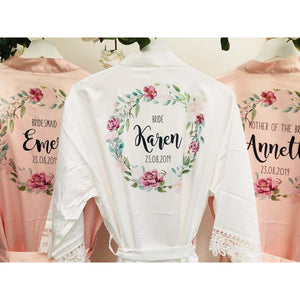Personalised Bridesmaid Robes • Wedding Dressing Gown • Foliage Floral Bridal Robe • Wedding Robes • Satin Wedding Robe • Bridal Robe