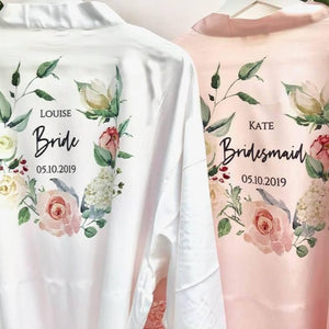 Personalised Bridesmaid Robe • Satin Lace Wedding Robe • Bridal Robe • Wedding Dressing Gown • Floral wreath Bridesmaid Robe •Will you be my