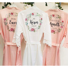 Load image into Gallery viewer, Personalised Bridesmaid Robes • Wedding Dressing Gown • Foliage Floral Bridal Robe • Wedding Robes • Satin Wedding Robe • Bridal Robe
