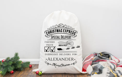 Personalised Santa Sack Christmas Express Father Christmas Bag With Special Delivery Print made from strong linen like polyester blend,