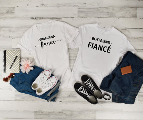 Girlfriend Fiancée Boyfriend Fiance • Couples T Shirt • Engagement Announcement • Engagement Shirts • Engagement Gift • Mr and Mrs Shirts