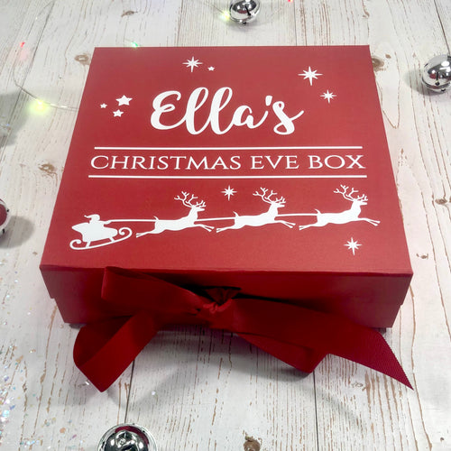 Red Christmas Eve Box With Santa's Reindeer