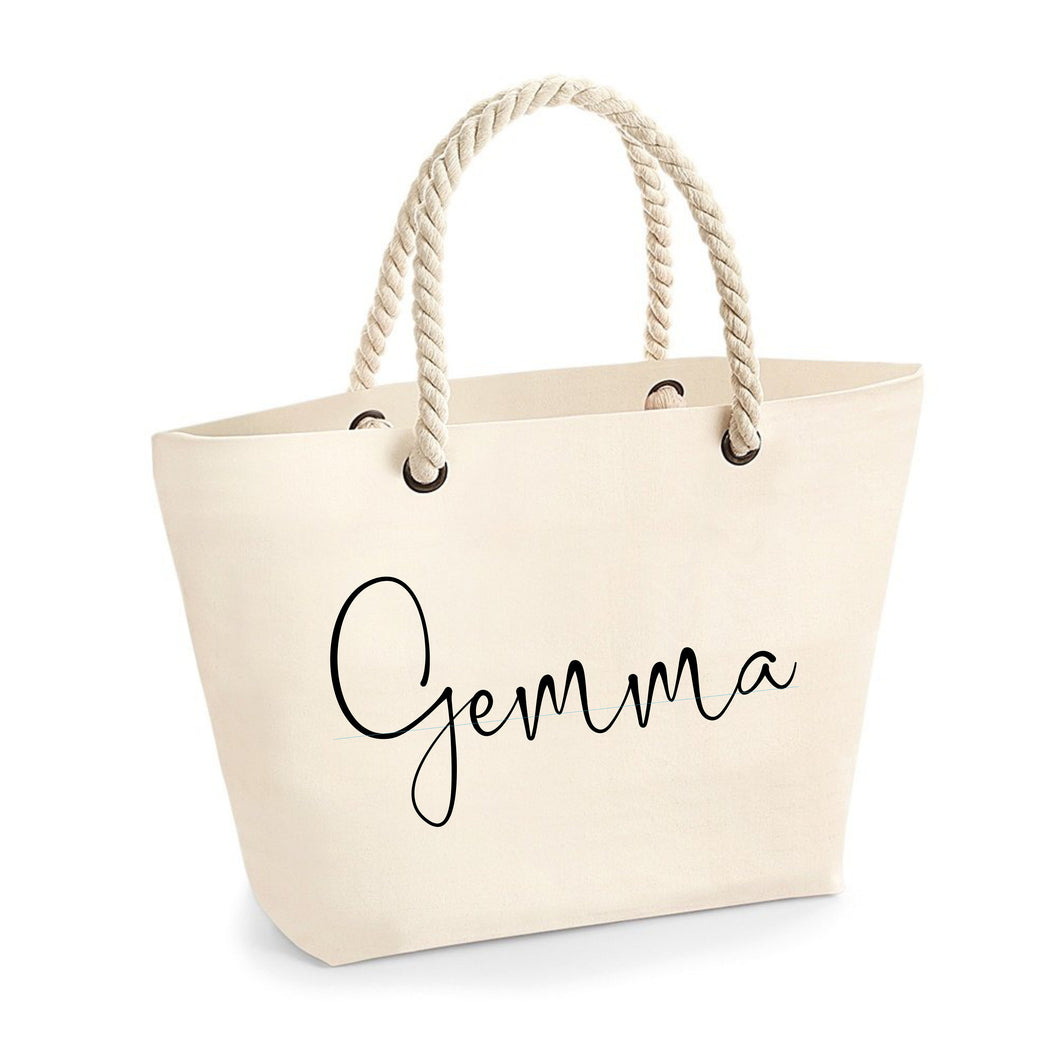 Personalised Beach Bag for new Mrs or Bridesmaid
