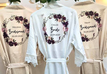 Load image into Gallery viewer, Bridesmaid Robes • Satin Lace Wedding Robes • Bridal Robes • Wedding Dressing Gown • Floral wreath Robe • Bride Dressing Gown• Maid of Honour