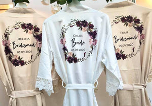 Bridesmaid Robes • Satin Lace Wedding Robes • Bridal Robes • Wedding Dressing Gown • Floral wreath Robe • Bride Dressing Gown• Maid of Honour