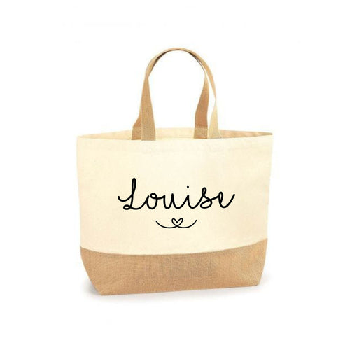 Personalised Large Shopper Tote Bag, Beach Bag, Personalised Jute Shopping Bag, Large Book Bag, Custom Printed Bag, Large Bag