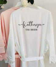 Load image into Gallery viewer, Personalised Bridal robe, Wedding Dressing Gown, Bridesmaid Wedding Robe with Satin and Lace Bridal Robes in standard and plus sizes