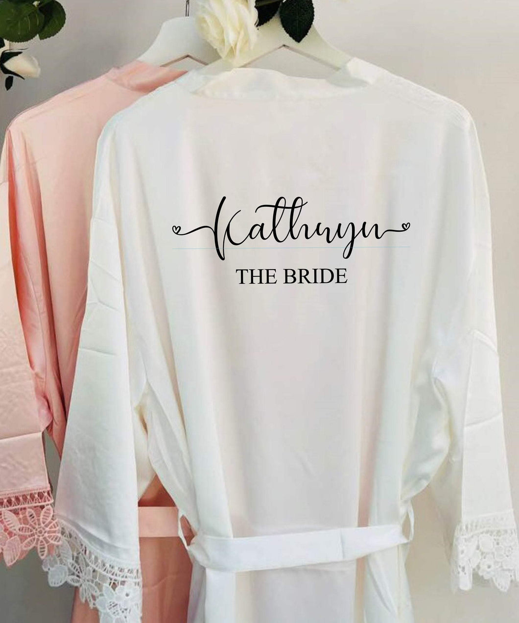 Personalised Bridal robe, Wedding Dressing Gown, Bridesmaid Wedding Robe with Satin and Lace Bridal Robes in standard and plus sizes