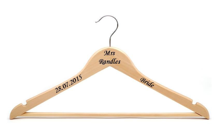 Personalised vinyl wedding hanger decal sticker
