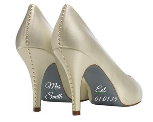 Personalised Mrs Shoe Sticker Vinyl Wedding Decal