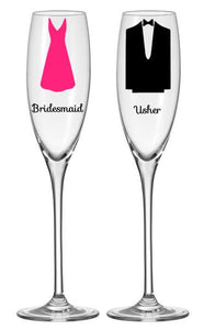 Personalised Glass Sticker DIY vinyl decal bride groom wedding sticker dress tux