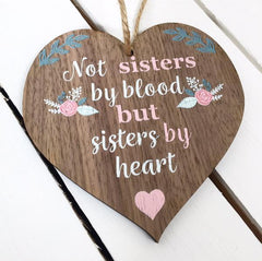 not sisters by blood heart plaque