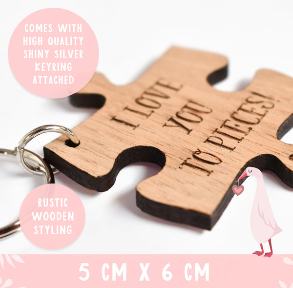 I love you to pieces wooden Keyring