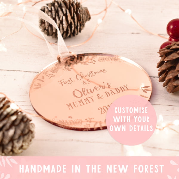 Luxury Personalised First Christmas as Mummy and Daddy bauble