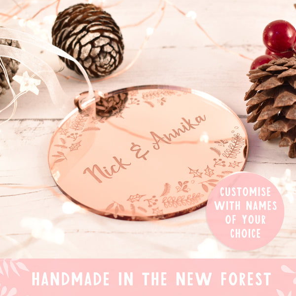 Luxury Personalised Couples Xmas Bauble