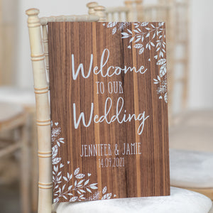 Large Welcome Wedding Sign Personalised Easel Sitter