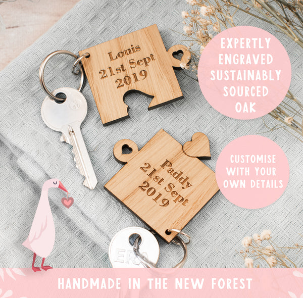 Personalised jigsaw puzzle keyring set