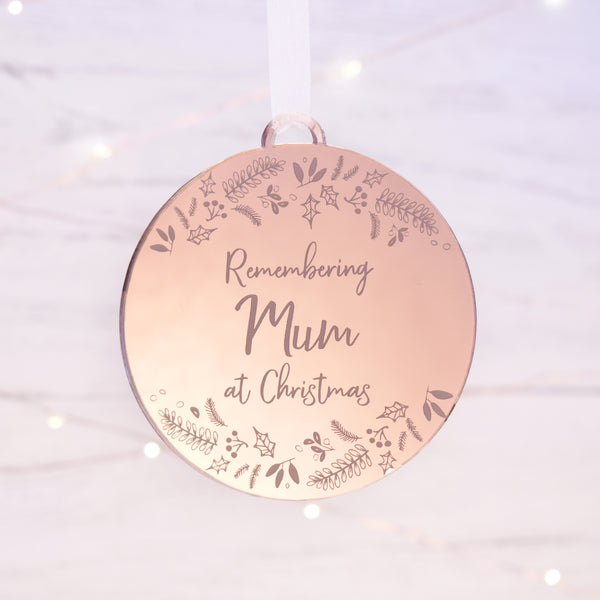 Luxury remembering someone at Christmas memorial bauble