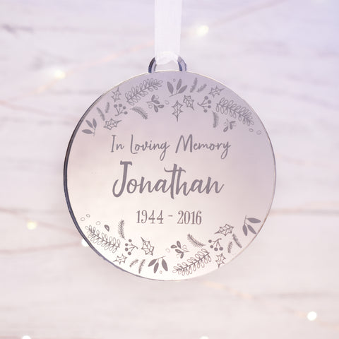 Luxury in loving memory remembrance memorial Christmas bauble
