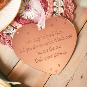 Life may be hard Mum rose gold plaque