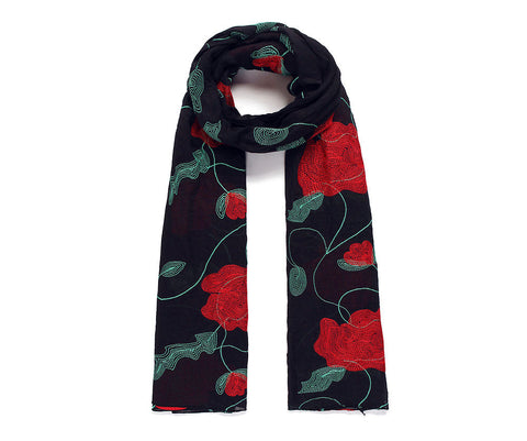 Black Poppy Embroidered Scarf