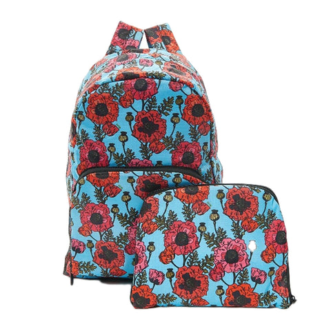 Expandable Backpack - Blue Poppies