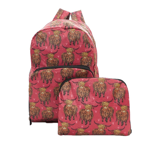 Expandable Backpack - Red Highland Cow