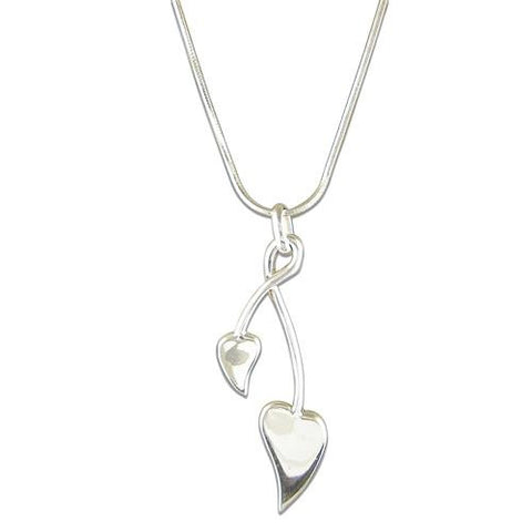 Twist Leaf Silver Necklace