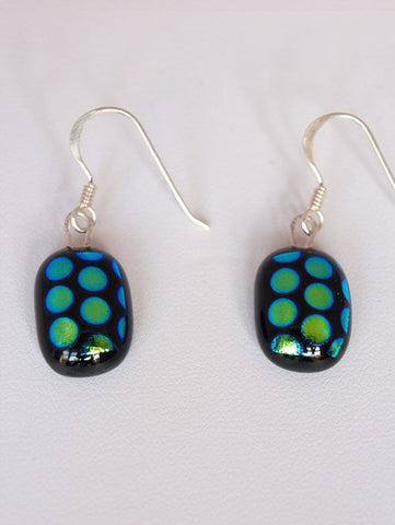 Green Dots Drop Earrings - Specialist Glass