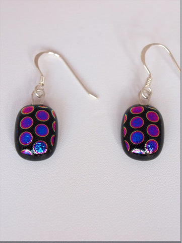 Pink/Purple Dots Drop Earrings - Specialist Glass
