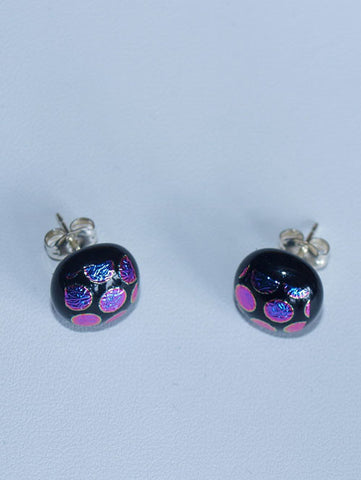 Pink/Purple Dots Stud Earrings - Specialist Glass