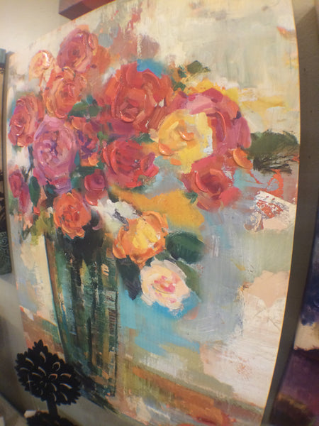Floral Oil and Print On Canvas