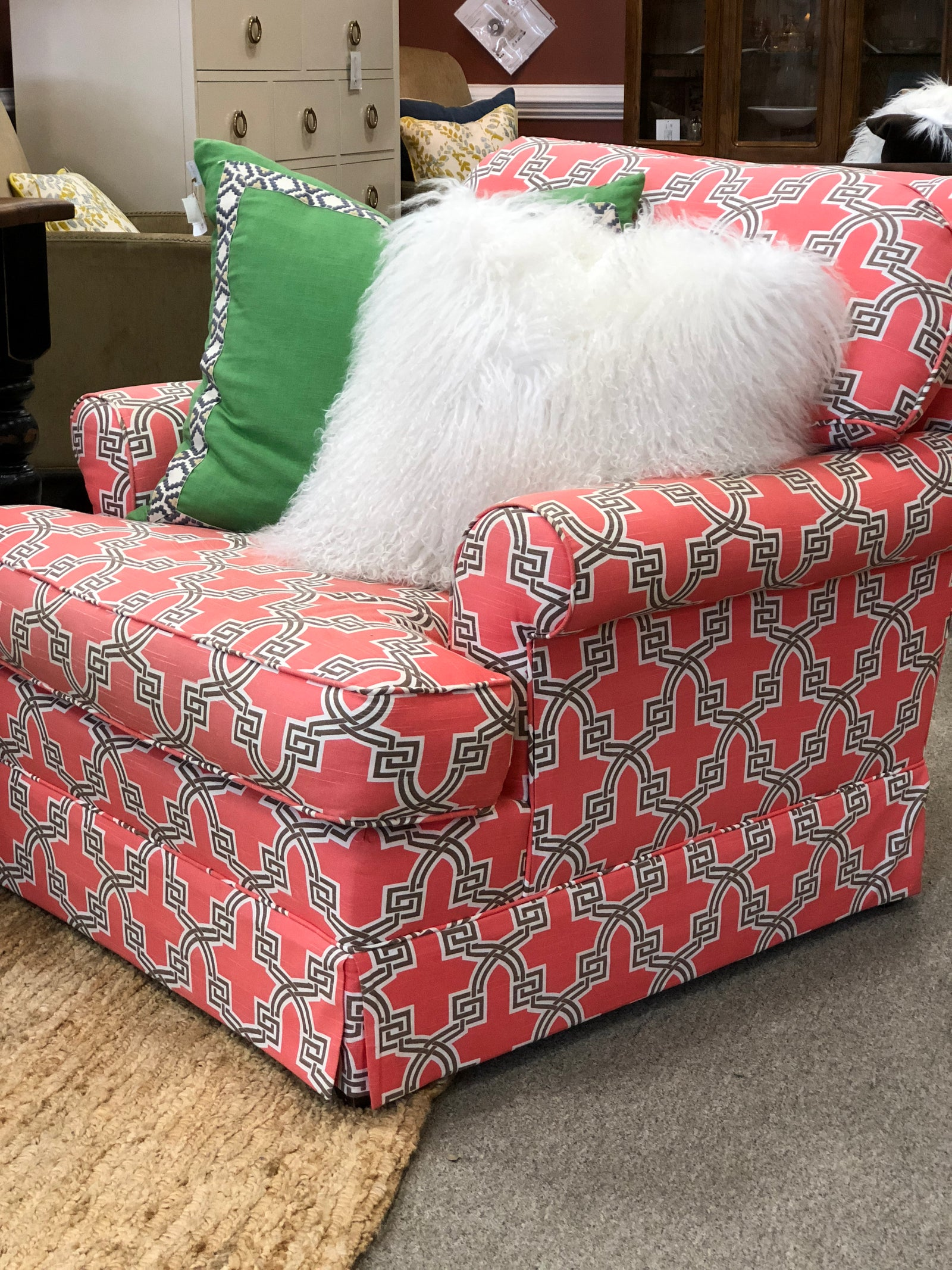 Geo Print Patterned Club Chair